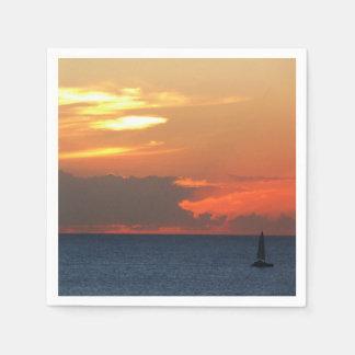 Sunset Clouds and Sailboat Seascape Disposable Serviette