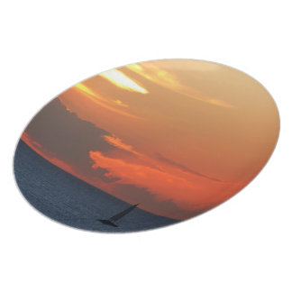 Sunset Clouds and Sailboat Seascape Plate