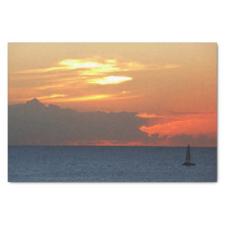 Sunset Clouds and Sailboat Seascape Tissue Paper