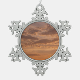 Sunset Clouds IV Pastel Abstract Nature Photograph Pewter Snowflake Decoration