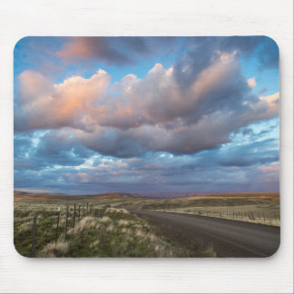 Sunset Clouds Over Gravel Zumwalt Prairie Road Mouse Pad