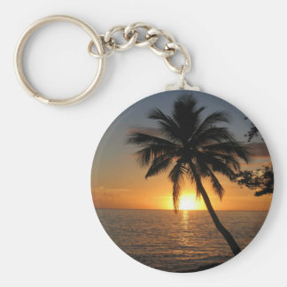 Sunset coconut palm tree Fiji peace and joy Key Ring