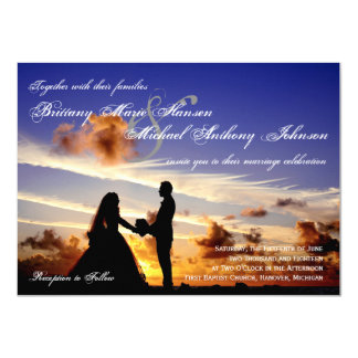 Sunset Couple Silhouette Wedding Invitation