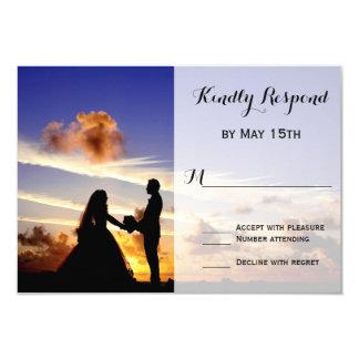 Sunset Couple Silhouette Wedding RSVP Cards 9 Cm X 13 Cm Invitation Card