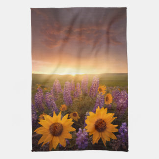 Sunset Daisies Tea Towel