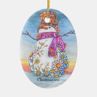 Sunset Daisy Snowman Christmas Ornament