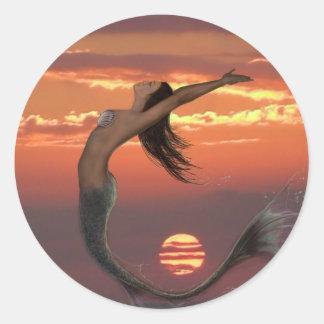 sunset dance round sticker