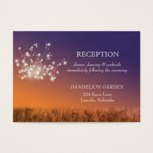 Sunset Dandelion Wedding Reception Business Card