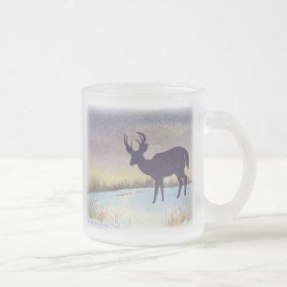 Sunset Deer Design Frosted Glass Mug
