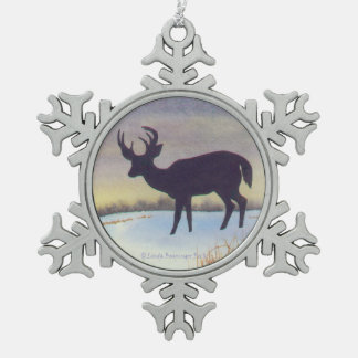 Sunset Deer in the Snow Snowflake Pewter Christmas Ornament