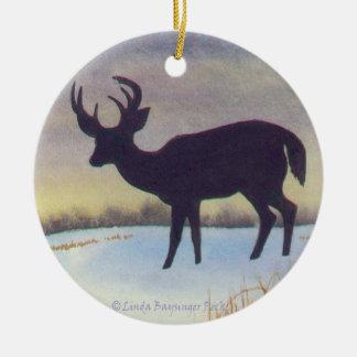 Sunset Deer Round Ceramic Decoration