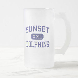Sunset - Dolphins - Continuation - Encinitas Frosted Glass Mug