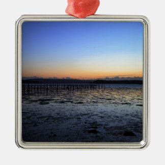 Sunset Evening Hill Silver-Colored Square Decoration
