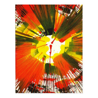 Sunset Fall Colors Spin Art Postcard