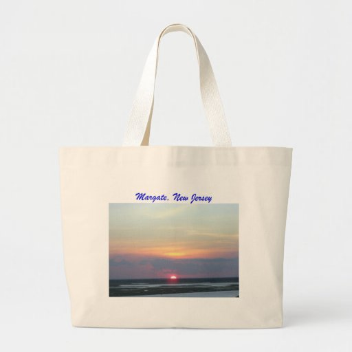 """Sunset featuring words """"Margate, New Jersey"""" Bags"""
