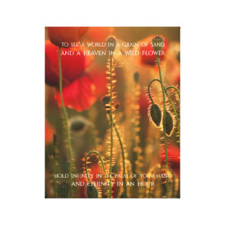 Sunset Field Flowers Inspirational Nature Poetry Canvas Print