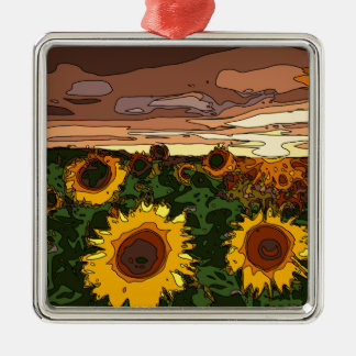 Sunset Field of Sunflowers Silver-Colored Square Decoration