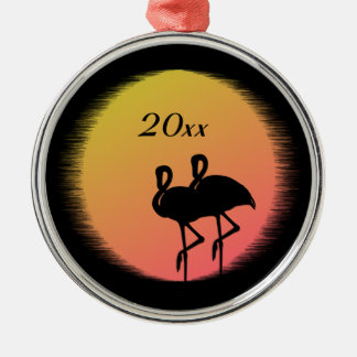 Sunset Flamingos Christmas Ornament