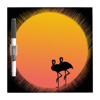 Sunset Flamingos Dry Erase Board