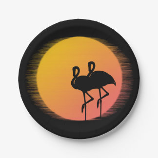 Sunset Flamingos Paper Plate