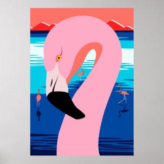 Sunset Flamingos Poster