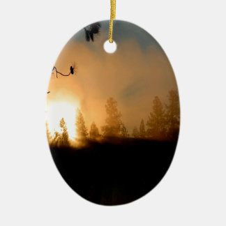 Sunset Forest Fire Ceramic Oval Decoration