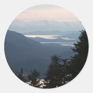 Sunset from Mt Roberts Round Sticker