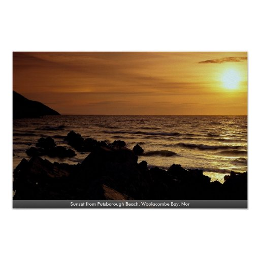 Sunset from Putsborough Beach, Woolacombe Bay, Nor Poster
