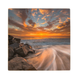Sunset from Tamarach Beach Wood Coaster