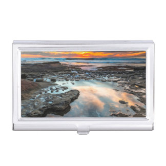 Sunset from the tide pools business card holder