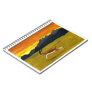 Sunset Gazelle wildlife art Notebooks