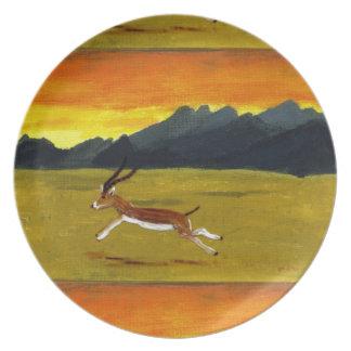 Sunset Gazelle wildlife art Plate