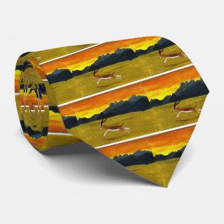 Sunset Gazelle wildlife art Tie