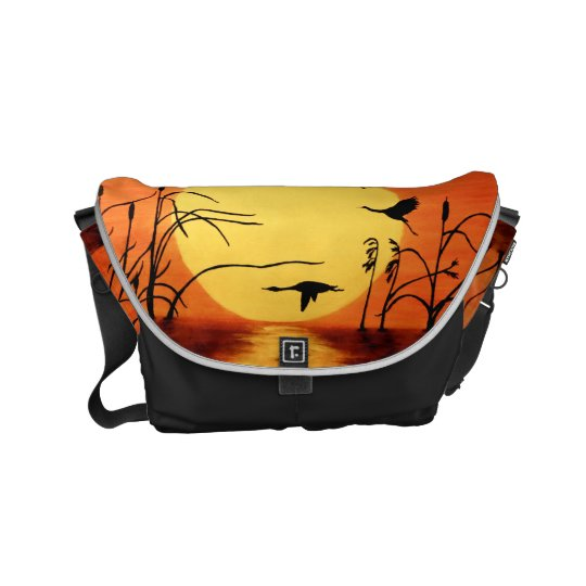 Sunset Geese Messenger Bag