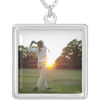 Sunset golf swing silver plated necklace