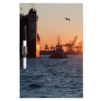 Sunset Hamburg Harbour Dry Erase Board