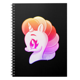 Sunset Hand Drawn Rainbow Unicorn School Notebook