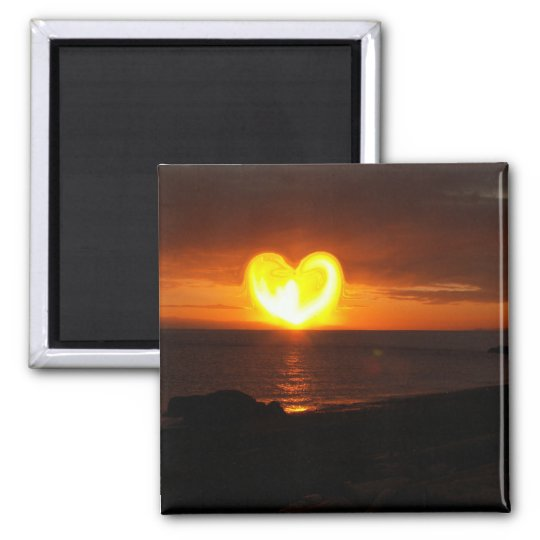 Sunset Heart Square Magnet