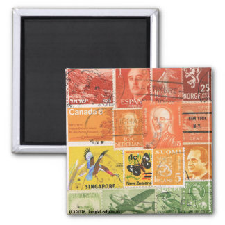 Sunset Hill Fridge Magnet, Postage Stamp Art Square Magnet