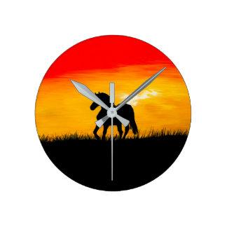 sunset horse round clock