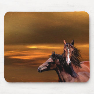 Sunset horses mouse pad