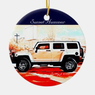 """""""Sunset Hummer"""" © 2010 S.J. Christmas Ornament"""