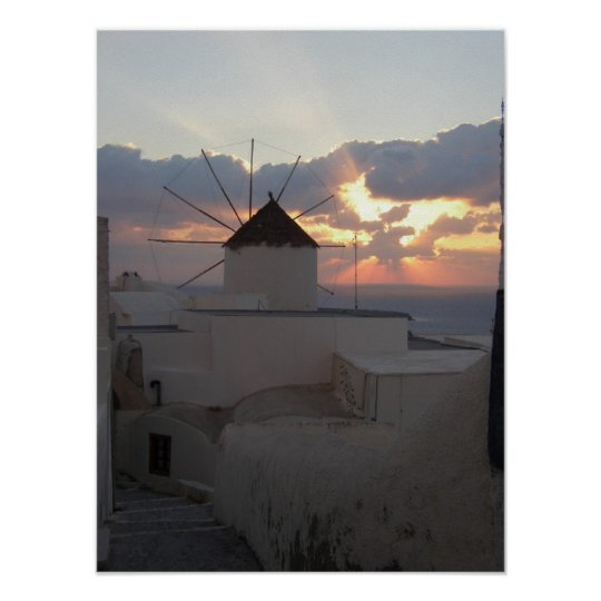 Sunset Ia Santorini Poster