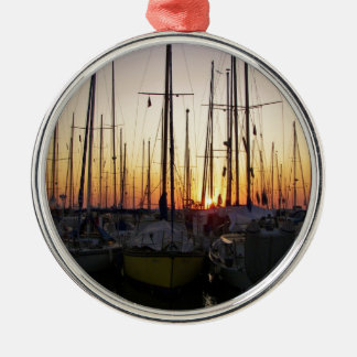 Sunset In A Marina Silver-Colored Round Decoration