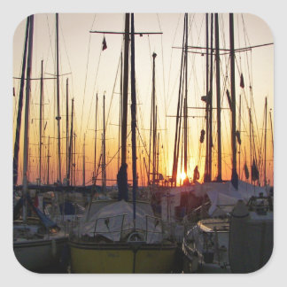 Sunset In A Marina Square Sticker