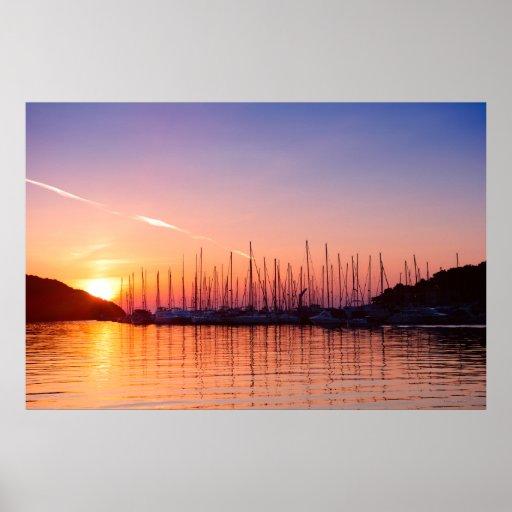 Sunset in Adriatic sea bay photo print. Croatia