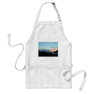 Sunset In Alaska, Over Trees With Ocean In Distanc Apron