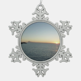 Sunset in Antigua II Seascape Photography Pewter Snowflake Decoration