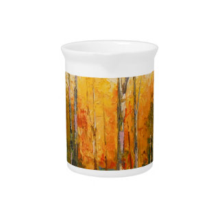 Sunset in autumn forest beverage pitchers