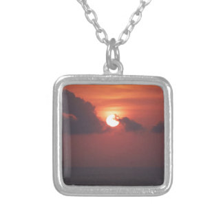 Sunset in Bali Square Pendant Necklace